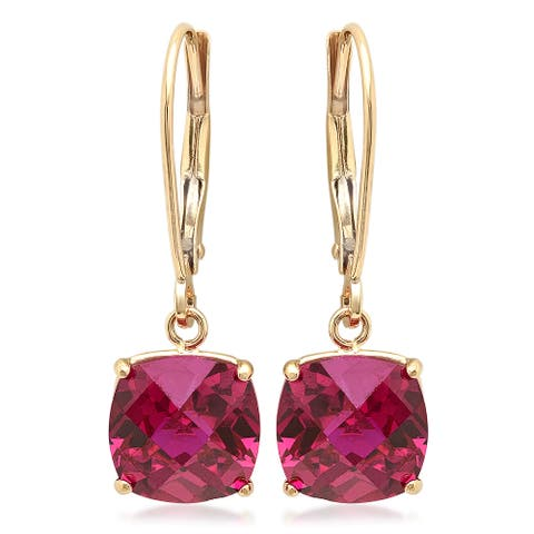 Marabela 10k Yellow Gold Checkerboard Cushion Cut Created Ruby Dangle Earrings