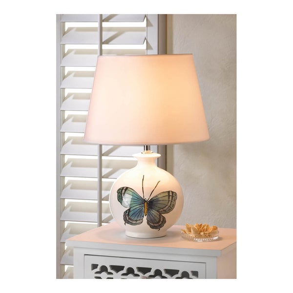 Koehler Home Decor Gallery White Ceramic and Fabric Butterfly Lamp