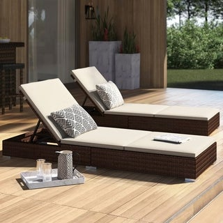 Corvus Outdoor Wicker Adjustable Chaise Lounges with Cushions (Set of 2)