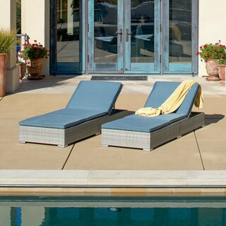 Corvus Outdoor Wicker Adjustable Chaise Lounges with Cushions (Set of 2) (2 options available)