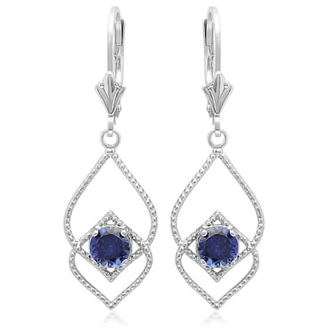 Marabela Sterling Silver Created Blue Sapphire Dangle Earrings