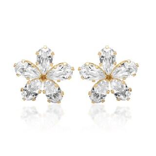 Marabela 14k Yellow Gold Created White Sapphire Flower Stud Earrings