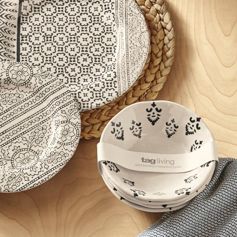 TAG Henna Bamboo Melamine Bowl Set of 4