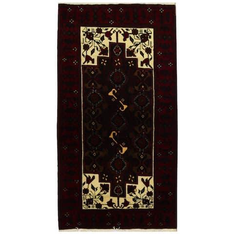 Handmade One-of-a-Kind Balouchi Wool Runner (Iran) - 3'8 x 6'8