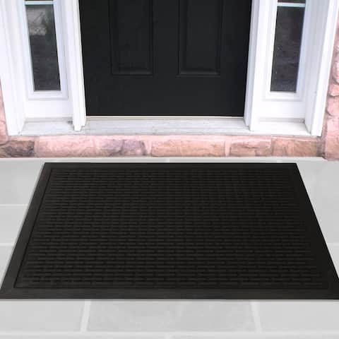 DirtOff Black Brick Design Natural Rubber Scraping Door Mat