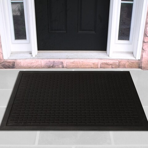 Ottomanson Charcoal Natural Rubber Scraping Door Mat