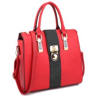 Two-Tone Faux Leather with Lock Decor Medium Satchel Handbag