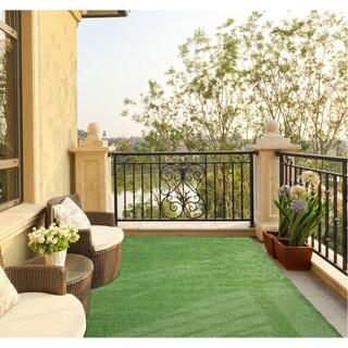 "Ottomanson Evergreen Collection Green Artificial Grass Solid Green Design Indoor/Outdoor Runner Rug, 2'7"" x 9'10"""