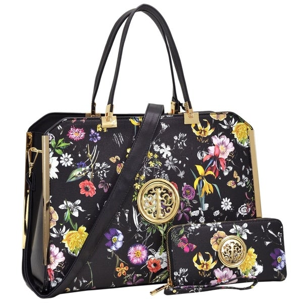 Dasein Flower Pattern/ Striped Faux Leather Briefcase with Matching Wallet. Opens flyout.