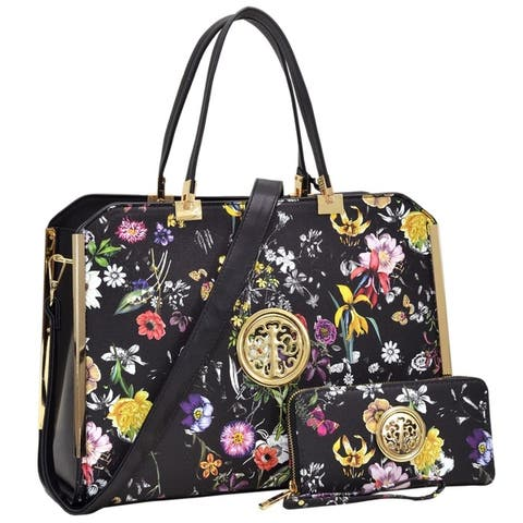 Dasein Flower Pattern/ Striped Faux Leather Briefcase With Matching Wallet by  Comparison
