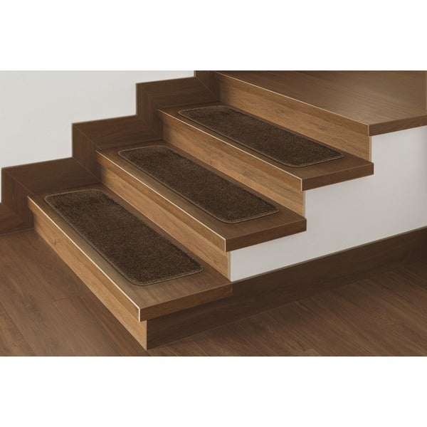 "Softy Stair Treads Solid Brown Set of 14 (9""x26"")"