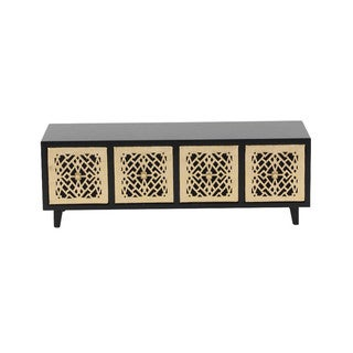 Benzara Abigail Wood Golden and Brown Jewelry Chest