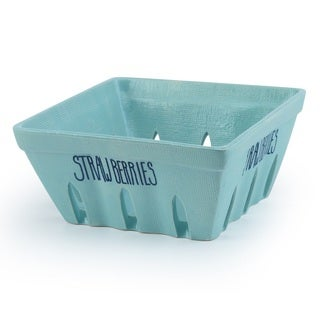 Signature Housewares 7-Inch Strawberry Basket, Aqua