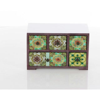Benzara Kaleidoscopic Wooden Hand-painted Jewelry Chest