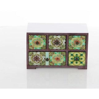 Benzara Kaleidoscopic Wooden Hand-painted Jewelry Chest