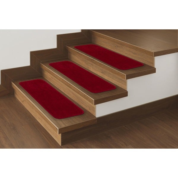 """Softy Solid Red Non-Slip Stair Treads (Set of 14) - 9"""" x 26"""""""
