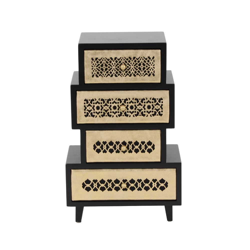 Benzara Madison Gold-tone/Brown Jewelry Chest (Golden & Black)