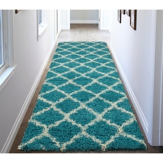 Ottomanson Ultimate Collection Turquiose Shag Runner Kids Runner Rug (3' x 8')