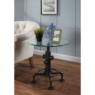 Bronx-Metal Black Metal and Glass Pipe-style Accent Table