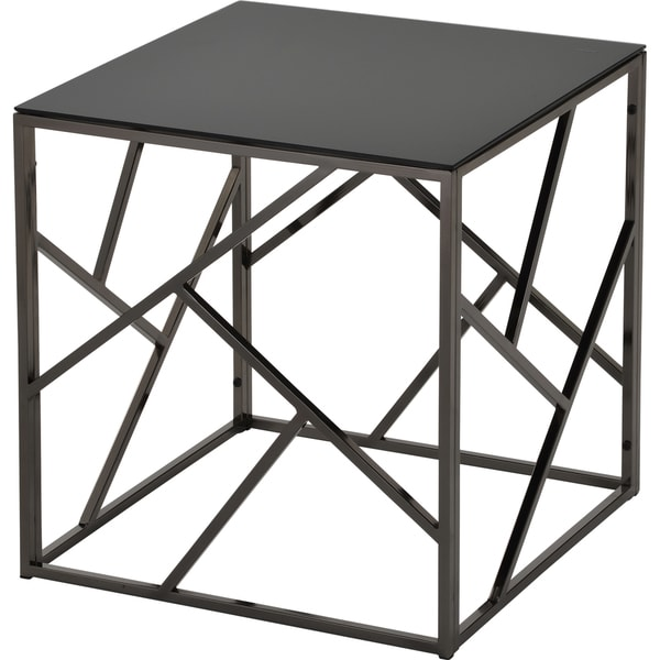 Giada Black Glass and Metal Accent Table