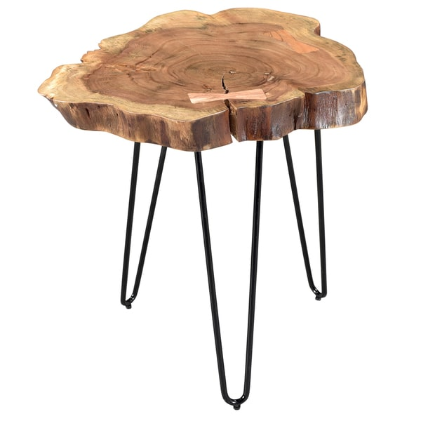 Superieur Nila Acacia Wood/Wrought Iron Accent Table