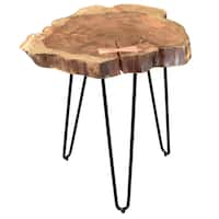 Nila Acacia Wood/Wrought Iron Accent Table