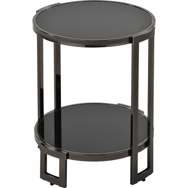 Bogdon Black Glass/ Steel Accent Table