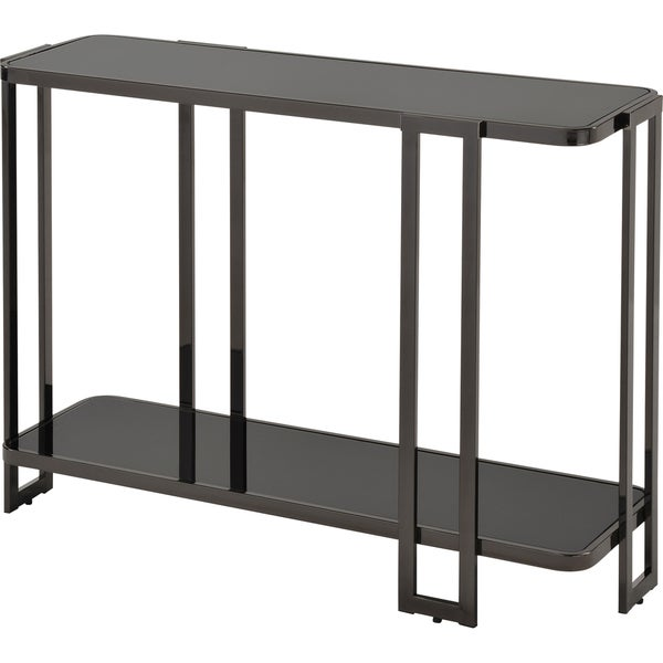Shop bogdon black glass and metal console table free