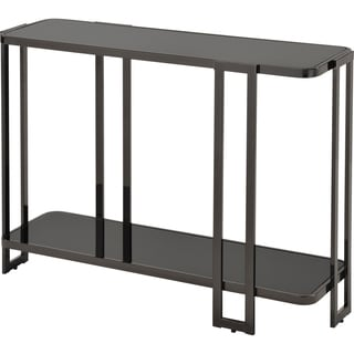 Bogdon Black Glass and Metal Console Table