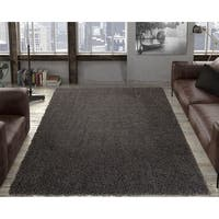 """Ottomanson Contemporary Soft Cozy Dark Grey Shag Rug - 7'10"""" x 9'10"""""""