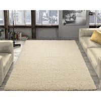 "Ottomanson Soft Cozy Contemporary Solid Cream Shag Rug - 7'10"" x 9'10"""