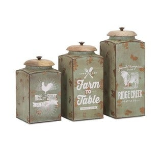Benzara Farmhouse Green Metal Lidded Canisters (Set of 3)