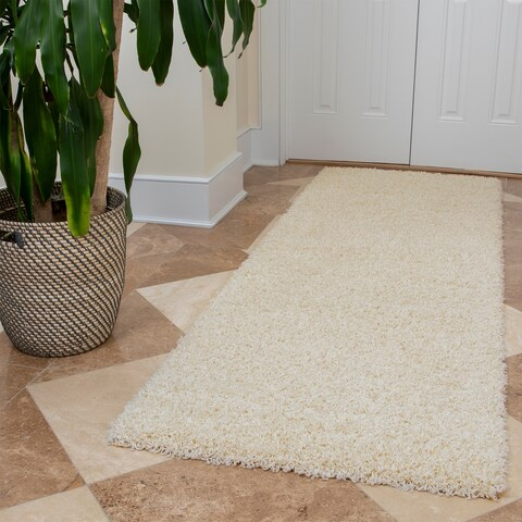 "Ottomanson Solid Color Ivory Shag Runner Rug - 2'7"" x 8'"