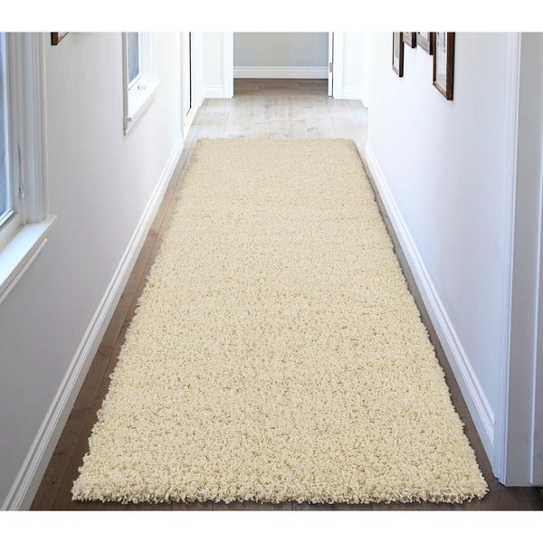 Ottomanson Solid Color Ivory Runner Rug 3 X27 X