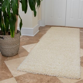 Ottomanson Solid Color Ivory Shag Runner Rug - 3' x 8'