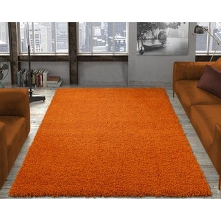 Ottomanson Solid Orange Shag Kids Rug (6'7 x 9'3)