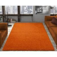 Ottomanson Solid Orange Shag Kids Rug - 6'7 x 9'3