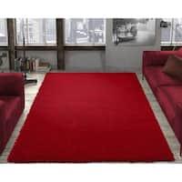 Ottomanson Solid Red Shag Rug - 6'7 x 9'3
