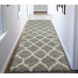 Ottomanson Ultimate Collection Grey Moroccan Trellis Design Contemporary Shag Runner Rug - 2'7 x 8'