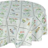 Ottomanson Vinyl 55-inch Round Butterfly Meadow Design Indoor and Outdoor Tablecloth with Non-woven Backing