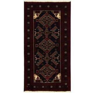Herat Oriental Persian Hand-knotted Tribal Balouchi Wool Runner (3'5 x 6'5)
