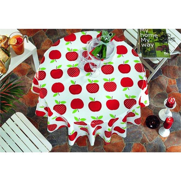 Ottomanson Vinyl 55 Inch Round Apple Tablecloth Free