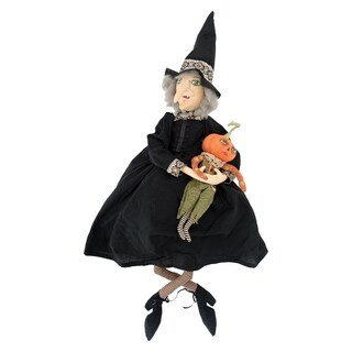 Marleigh Witch and Pumpkin Joe Spencer Gathered Traditions Art Doll - Black/Green/Orange