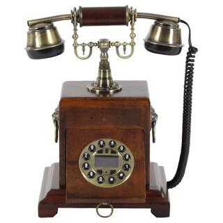 Benzara Brown Wood/Metal Antique Telephone