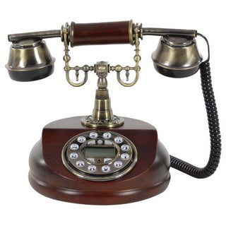 Nostalgic Brown Wood and Metal Traditional Telephone
