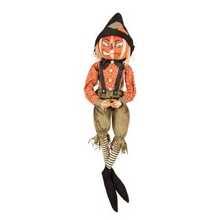 Riley Scarecrow Joe Spencer Gathered Traditions Art Doll - Orange