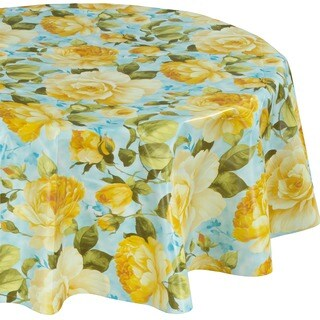 Ottomanson Yellow Rose Design Vinyl Non-woven Backing 55-inch Round Indoor/Outdoor Tablecloth