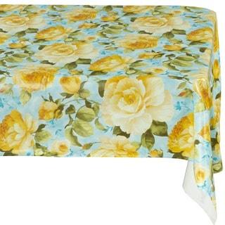 Ottomanson Yellow Rose Vinyl Non-woven Backing Indoor/ Outdoor Tablecloth