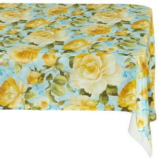 Ottomanson Yellow Rose Vinyl Non-woven Backing Indoor/ Outdoor Tablecloth
