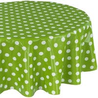 Ottomanson Green Polka Dot Design Vinyl 55-inch Round Indoor & Outdoor Tablecloth with Nonwoven Backing